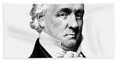 President James Buchanan Graphic - Black And White Beach Towel