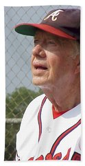 President Jimmy Carter - Atlanta Braves Jersey And Cap Beach Sheet by Jerry Battle