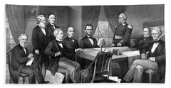 President Lincoln His Cabinet And General Scott Beach Towel