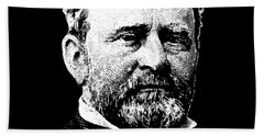 President Ulysses Grant Graphic - Black And White Beach Towel