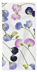 Pressed Sweet Peas Beach Towel