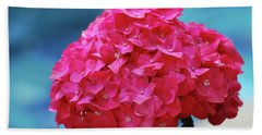 Pretty Blooming Pink Hydrangea Flowers Beach Sheet