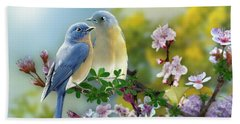 Pretty Blue Birds Beach Sheet