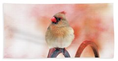 Pretty Cardinal Beach Towel by Trina Ansel