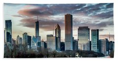 Pretty Clouds Over Chicago Skyline Beach Towel