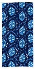 Pretty Decorative Blue Leaves Pattern Beach Towel