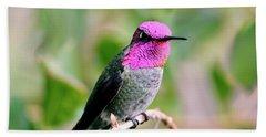 Pretty In Pink Anna's Hummingbird Beach Sheet