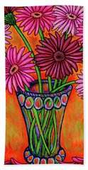 Beach Towel featuring the painting Pretty In Pink Gerbers by Lisa Lorenz