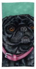 Pretty In Pink - Pug Dog Painting By Michelle Wrighton Beach Towel