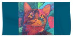 Beach Sheet featuring the painting Pretty Kitty by Nancy Jolley
