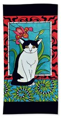 Beach Towel featuring the painting Pretty Me In Tuxedo by Dora Hathazi Mendes
