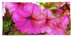 Pretty Pink Petunias Beach Sheet
