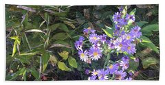 Beach Towel featuring the photograph Pretty Purple Flowers by Artistic Panda