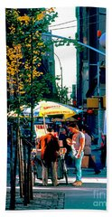 Hot Dog Stand Nyc Late Afternoon Ik Beach Towel