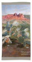 Beach Towel featuring the painting Prickly Pear In Sedona, Arizona by Nancy Lee Moran