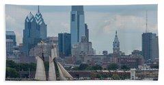 Pride Of Baltimore II Philadelphia Skyline Beach Sheet by Terry DeLuco