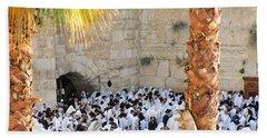 Beach Towel featuring the photograph Prayer Of Shaharit At The Kotel During Sukkot Festival by Yoel Koskas
