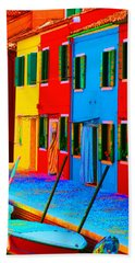 Beach Towel featuring the photograph Primary Colors Of Burano by Donna Corless