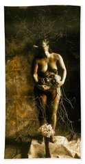 Primitive Woman Holding Mask Beach Towel