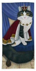Beach Towel featuring the painting Prince Anakin The Two Legged Cat - Regal Royal Cat by Carrie Hawks