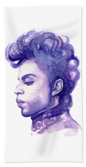 Prince Musician Watercolor Portrait Beach Towel