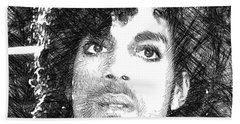 Prince - Tribute Sketch In Black And White 3 Beach Sheet