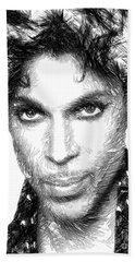 Prince - Tribute Sketch In Black And White Beach Towel