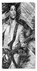 Prince - Tribute With Guitar In Black And White Beach Towel