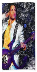 Prince - Tribute With Guitar Beach Towel