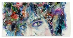Prince - Watercolor Portrait Beach Sheet by Fabrizio Cassetta