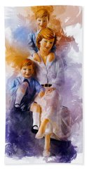 Princess Diana And Children Beach Towel
