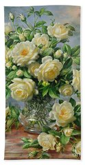 Princess Diana Roses In A Cut Glass Vase Beach Towel by Albert Williams