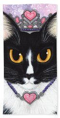 Beach Towel featuring the painting Princess Fiona -tuxedo Cat by Carrie Hawks