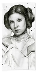 Princess Leia Portrait Carrie Fisher Art Beach Towel