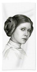 Princess Leia Watercolor Portrait Beach Towel