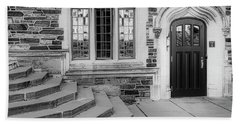 Beach Towel featuring the photograph Princeton University Lockhart Hall Bw by Susan Candelario