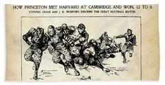 Beach Towel featuring the mixed media Princeton Vs Harvard - New York Journal 1896 by Daniel Hagerman