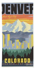 Denver Retro Travel Poster Beach Sheet
