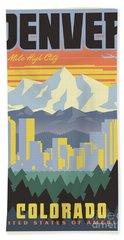 Denver Retro Travel Poster Beach Sheet