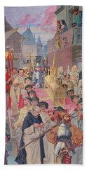 Procession Of The Reliquary Chest Of St Genevieve Beach Towel