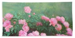 Beach Towel featuring the mixed media Profuse Peony Blossoms by Nancy Lee Moran