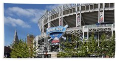 Beach Sheet featuring the photograph Progressive Field In Cleveland Ohio by Dale Kincaid