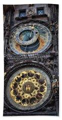 Progue Astronomical Clock Beach Towel by Sheila Mcdonald