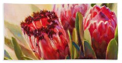 Beach Sheet featuring the painting Protea - Tropical Flowers From Hawaii by Karen Whitworth