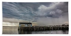 Beach Towel featuring the photograph Provincetown Storm, Cabrals Wharf by Charles Harden
