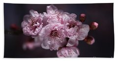 Prunus A Pink Spring Beach Sheet by Joy Watson