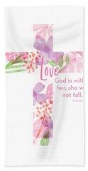 Psalm 46 5 Cross- Art By Linda Woods Beach Towel