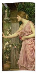 Psyche Entering Cupid's Garden Beach Towel by John William Waterhouse