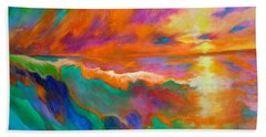 Beach Towel featuring the painting Psychedelic Sea by Alison Caltrider