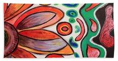 Beach Towel featuring the painting Psychedelic Summer by Jolanta Anna Karolska